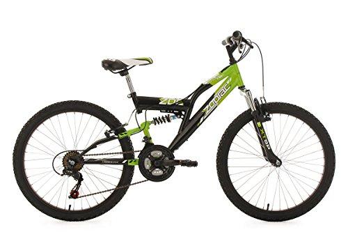 KS Cycling Kinder Kinderfahrrad Mountainbike Fully 24'' Zodiac grün-schwarz RH 38 cm Fahrrad