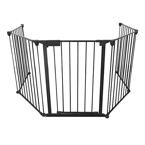 TAN Metal Fireplace Fence, Pieghevole BBQ Hearth Fire Gate, Baby Gate, Recinzione di Sicurezza per Cani E Gatti