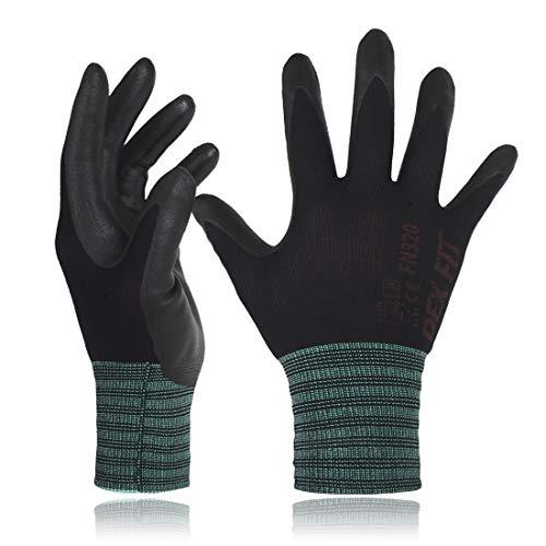 Dex fit guanti da lavoro nylon nero fn320, 3d comfort stretch fit, power grip, sottile leggero e elastico alto, schiuma di nitrile durable, lavabile in lavatrice, piccolo 3 pairs