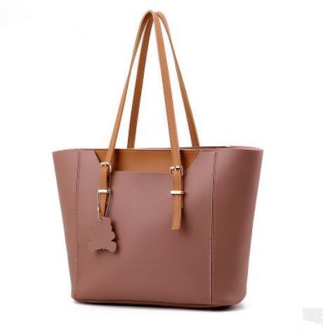 HQYSS Damen-handtaschen Mode Atmosphäre Ms europäischen und amerikanischen Stil 2 Stück Tasche + Schulter Tasche rubber powder