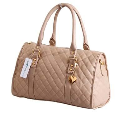 More4bagz Ladies Womens Designer Style Quilted Boutique Shoulder Handbag Bag (Camel)