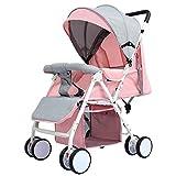 STC Kinderwagen 0-3 Jahre Alt Baby Große Kapazität Tragbare Falten Wasserdicht Atmungsaktiv Sonnenschirm Kann Sich Hinsetzen und Hinlegen, Rosa, a