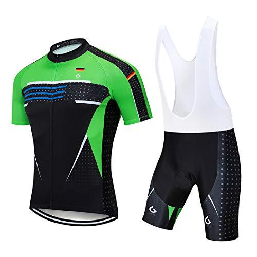 GWELL Herren Radtrikot Atmungsaktive Fahrradbekleidung Set Trikot Kurzarm + Radhose mit Sitzpolster für Radsport Schwarz-Grün (Set mit weißer Trägerhose) L