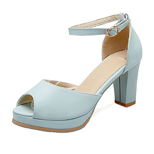 RizaBina Femmes Chaussures Mode Peep Toe Bloc Sandales De Boucle Bleu