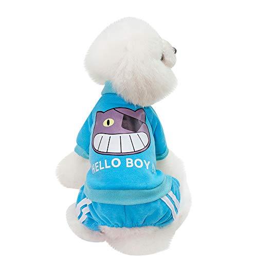 (Fenverk Katze Hund Mantel Jacke Haustier VorräTe Kleider Winter Bekleidung HüNdchen KostüM Schlammig Pfoten Hochland Baumwolle Hoodies(Blau,L))