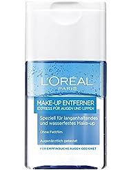 L'Oréal Paris Augen Make Up Entferner, Lotion mit innovativer 2-Phasen Technologie - entfernt langanhaltendes & wasserfestes Make-Up - Express-Abschminken für Augen und Lippen, 1er Pack (1 x 125 ml)