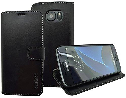 Book-Style Ledertasche Tasche für Samsung Galaxy S7 *ECHT LEDER* Handytasche Case Etui Hülle (Original Suncase) in schwarz