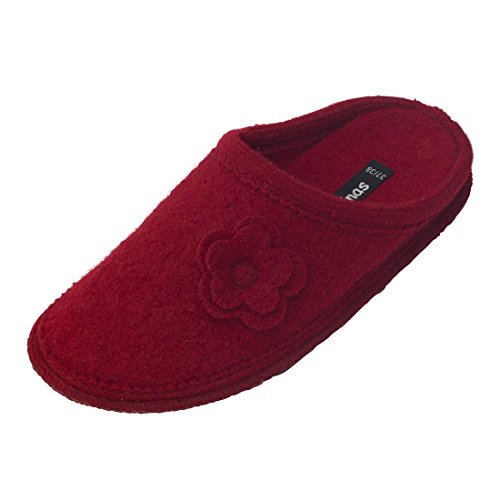 bacinas Damen Hausschuhe mit Blumenapplikation | Pantoffeln aus gewalkter Schafwolle halten warm und sind bequem. Die optimalen Wohlfühl-Schlappen sind wie Filzpantoffeln aus 100% Schurwolle Dunkelrot Größe:37/38
