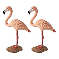 B Blesiya 2 Pieces Miniature Flamingo Figurine For Dollhouse DIY Decoration Micro Landscape Set