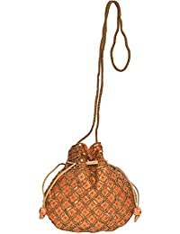 Exotic India Designer Drawstring Potli Bag With Embroidered-Beads And Sequins