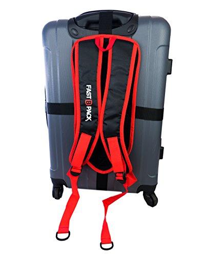 FastBpack Adattatore da Viaggio Che converte la Valigia in Uno Zaino. Travel Gear Suitcase to Backpack Converter (Rosso-Red)