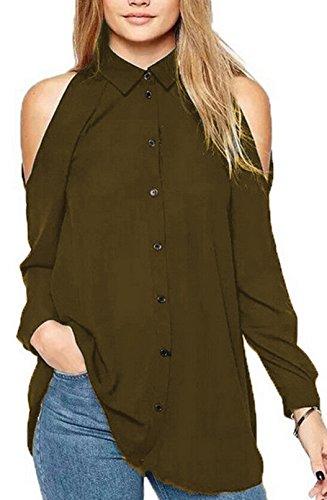 Gavemenget Sexy Lunga Manica Sciolto Chiffon Bluse Shirts Spalla Fredda Tunica Camicie di Colore Solido Casual Top Maglietta Sweatshirt Donne Marrone