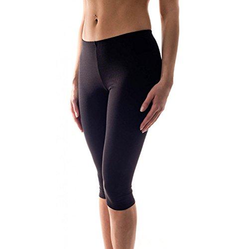 Alkato Damen Leggings 3/4 Capri Blickdicht Baumwolle Stretch, Farbe: Schwarz, Größe: 42