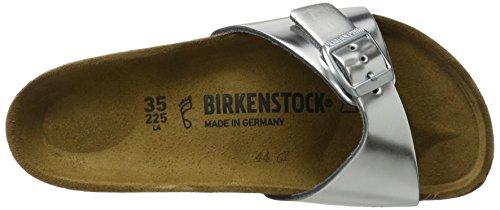 Birkenstock Madrid Leder, Mules Femme Silber (Metallic Silver)