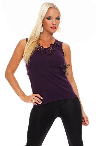 Hochwertiges Damen Träger-Top mit großer Spitze Nr. 416 (Oberteil / Unterhemd / Träger-Shirt) 100% Baumwolle Violett