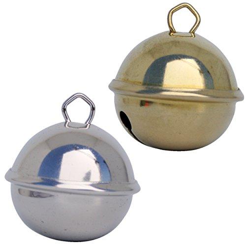 Glöckchen schellen 35mm (1 Silber (Silberfarben) + 1 Gold (goldene farbe)) – schön laut sound (nicht rostend) - Mehr als 16 farben in 3 Größen (Glöcken Kugeldurchmesser 15 mm, 24 mm, 35 mm) – Glöckchen zum basteln, kreatives Gestalten baby, kinder, senioren : musikalischen Früherziehung, deko, Schlüsselanhänger, Hochzeit, fußballfanartikel, Haustiere …