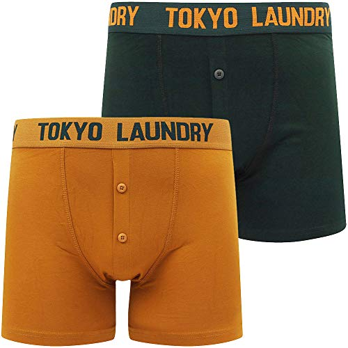 Nash 2 (2 Pack) Boxer Shorts Set in Pine Grove / Buckthorn Brown - Tokyo Laundry-XXL -