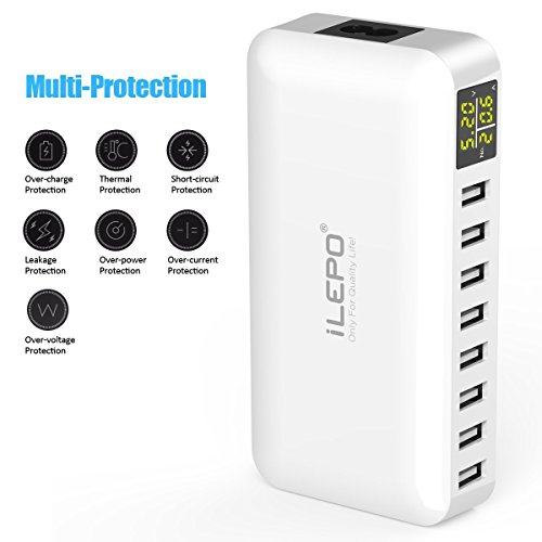 iLepo USB Charging Station 8-Port Charger Plug with LCD Display Voltage Meter Monitor 50W MAX 8A Desktop Portable USB Wall Charger for Smart PhoneTablets,Camera, PowerBanks and More