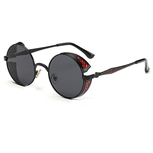 FRAUIT Unisex Farbverlauf Sonnenbrille Rundglas Hippie John- Retro Sonnenbrille im Steampunk Stil, runder Metallrahmen, polarisiert, für Frauen und Männer, runde Gläser, langer Steg