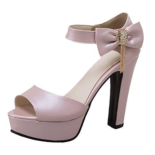 Pio Senhoras De Grossas Laço Alto Com De Tiras Fivela Sandálias Bombas Ye Rosa Sapatos Elegante Salto E Aqwg0xx