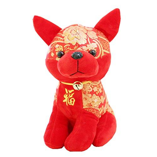 Jahr der Hund Maskottchen Wangcai Lunar New Year Welpen Plüschtier Puppe, D8 (Tiere Hund Realistische Ausgestopfte)