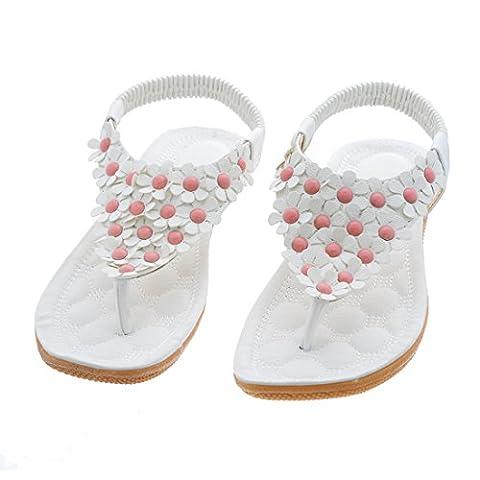 Encounter Damen Sommer Schuhe Strandschuhe Offene T-Spangen Sandalen Knöchelriemchen Sandalen Pantoletten mit Blumen (37, Weiß)