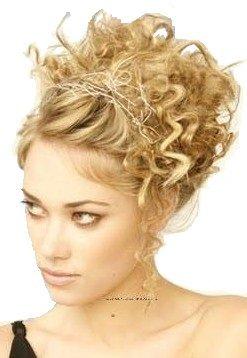 Elastico per capelli rivestito con extension a ciocche ricce per creare chignon alto o basso biondo miele