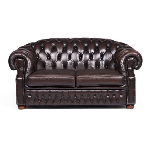 Centurion Chesterfield Designer Leder Sofa Braun Zweisitzer Couch Retro #9122
