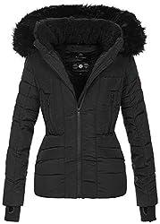 Navahoo Damen Winter Jacke warm gefüttert Teddyfell Stepp Winterjacke B361 [B361-Schwarz-Gr.M]