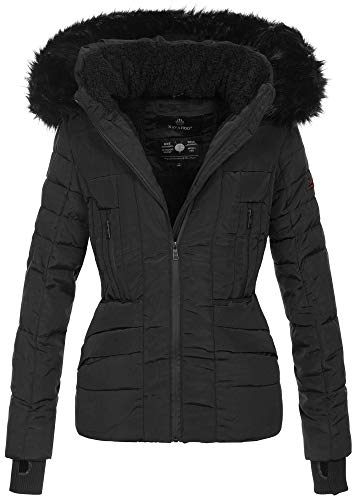 Navahoo Damen Winter Jacke warm gefüttert Teddyfell Stepp Winterjacke B361 [B361-Schwarz-Gr.S]