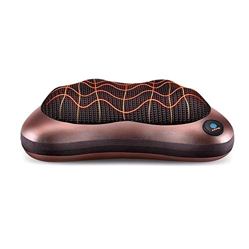 VCB Electric Lumbar Neck Back Massage Pillow Cushion Shiatsu Massager Heat Car Hom - Coffee