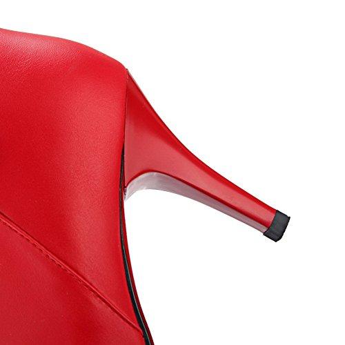 AgooLar Femme Couleur Unie Stylet Pointu Matière Mélangee Zip Bottes Rouge