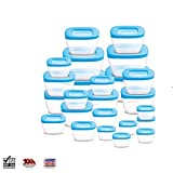 #4: BMS FoodSafe Plastic Storage Air Tight Container Set With Fruit Fork, 29-Pieces, Blue