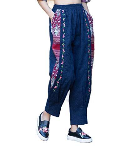 CuteRose Womens Cotton/Linen Ethnic Style Wide Leg Harem Comfort Fit Ankle Pants Navy Blue OS (Cotton Leg Wide Pants)