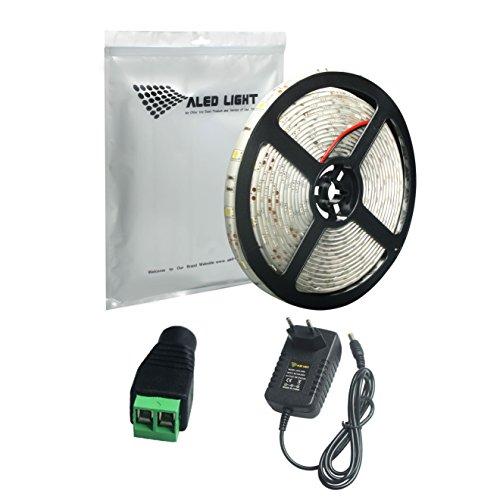 ALED LIGHT® Iluminación Tira LED Impermeable IP65 LED Strip Blanco Frío 5M 5050 SMD LED 150 (30 LED/Metro) + Adaptador de Alimentación de 12V 3A + Convertidor + Descripción del Producto