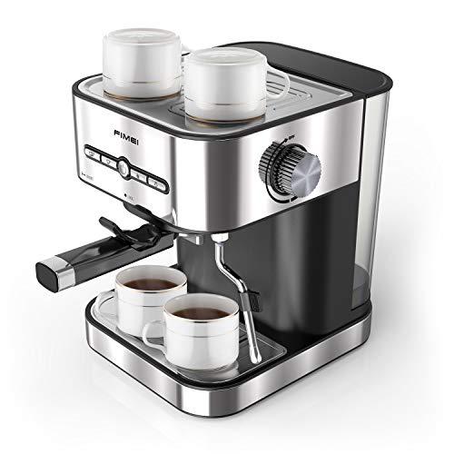 FIMEI Cafetera espresso,máquina de café espresso15 Bars,Cafetera para Cappuccino,Boquilla de Espuma de Leche Profesional, 1.5L Depósito de Agua, 2 Tazas,Todo Acero Inoxidable,Calentamiento Rápido