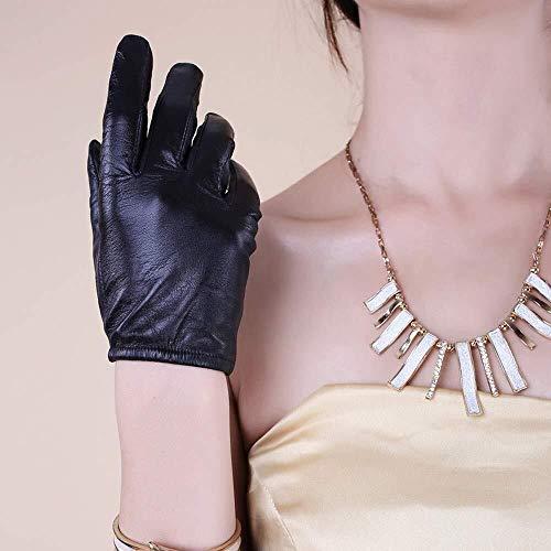 Neue Lederhandschuhe Weibliche Winter Dünne Koreanische Version Der Hand Kleine Ziege Touchscreen-Handschuhe Reithandschuhe Weibliche Driving Leather Mitten (Color : Thin Silk Lining, Size : XS)