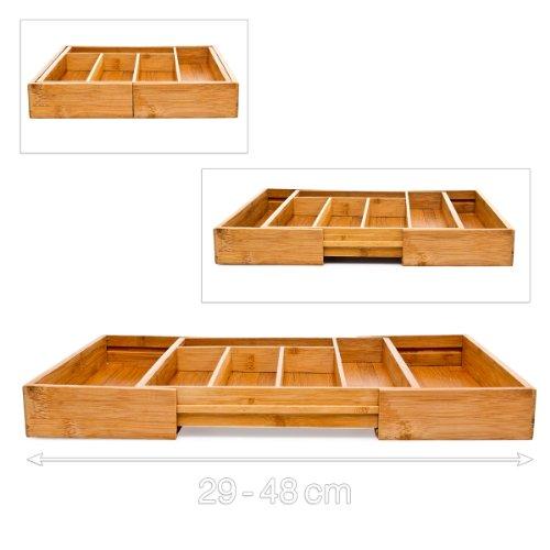 Relaxdays Besteckkasten aus Bambus H x B x T: ca. 33,5 x 29 – 45 x 5 cm ausziehbarer Besteckeinsatz als Küchenorganizer und Schubladeneinsatz große Besteckeinlage mit 5 bis 7 Fächern Organizer aus Holz, natur - 4