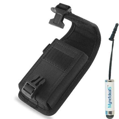 LG L80Vertikal Heavy Duty Rugged Leinwand Case Tasche Holster mit Clip Verschluss und Metall Clip w/Gürtelschlaufe. Ideal für Wandern, Camping, Outdoor und Konstruktion Work (mh01a) (Plus Größe passen Telefon mit einer Slim Haut oder Cover auf) + mynetdeals Mini Touchscreen Stylus