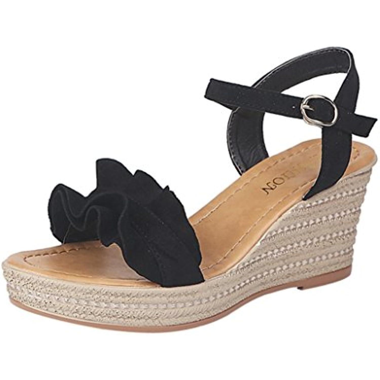 LUCKYCAT  s d'été Femme, Prime Day Amazon Chaussures de de Chaussures Été  s à Talons Chaussures Plates Wedge Flounce... - B07FHYLXN7 - d83037