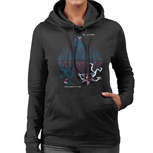 Stranger Things Now I Am Upside Down Grover Women's Hooded Sweatshirt Black