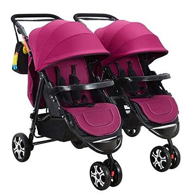 Compacto Cochecito doble, plegado fácil Twin Doble Cochecito, fácil de maniobrar Cochecito de niño, Extra-Grande Almacenamiento / asientos de seguridad / 360 ° de rotación, apto for 6 meses a 3 años