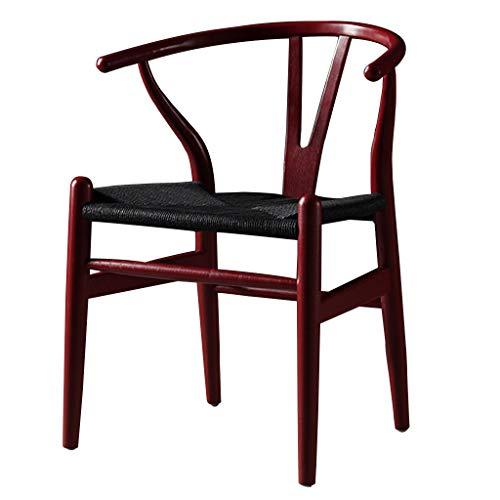 Massivholz Esszimmerstühle Haushalt Halb Sessel Retro Kuhfell Seil Kissen Stühle Mitte Jahrhundert Küche Holzbeine Stühle (Farbe: Rot)
