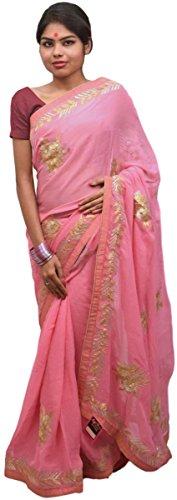 Smsaree Women's Viscose Saree With Blouse Piece (E418_Pink)