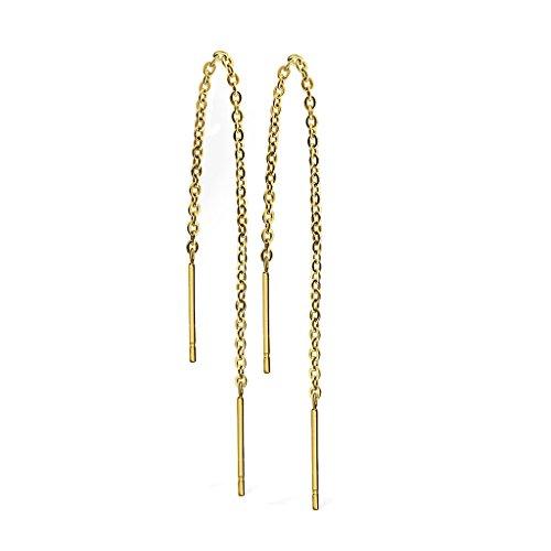 beyoutifulthings Damen 1 Paar Ohr-hänger lange hängende Ketten 2 Stäbe Durchzieher Ohringe Ohr-ringe Set Ohr-stecker Chirurgenstahl Silber Gold