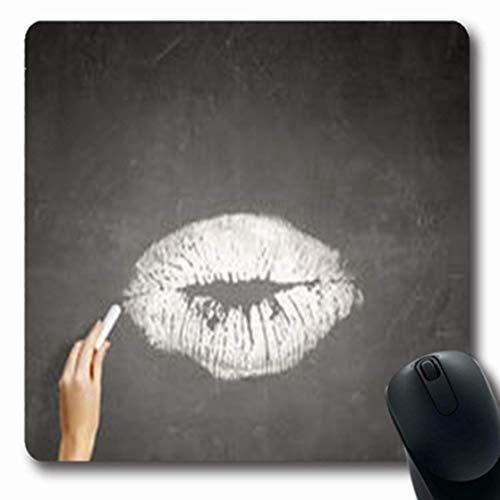 Luancrop Mousepads Schwarze menschliche Hand, die dunkle Lippen zeichnet Kuss-abstraktes Konzept-längliches Spiel Mousepad rutschfeste Gummimatte (Dunkle Lippen)