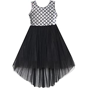 Sunny Fashion Girls Dress Sequin Mesh Party Wedding Princess Tulle Vestito Bambina 15 spesavip