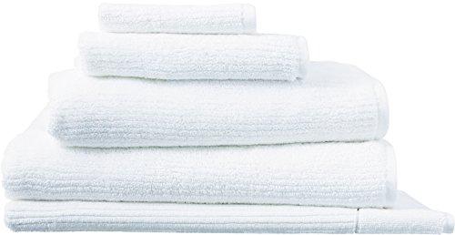 Designer-Stil Sheridan Living Texturen Gerippter Streifen Muster Reine Baumwolle Handtücher/Mats, Weiß, Handtuch -