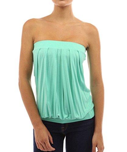 minetom-sexy-haut-bustier-femme-casual-ete-slim-plisse-plage-epaule-nu-vest-shirt-tube-top-vert-clai