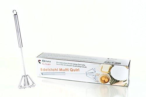 Hochwertiger Rührbesen/Multi-Quirl mit Drehautomatik (33 cm) aus Edelstahl von BenniCamp – NEU